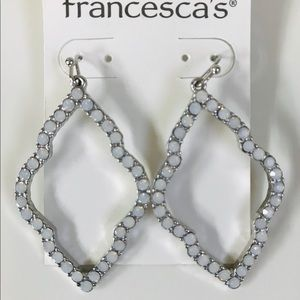 Francesca's Sparkly White Stone/Silver Earrings
